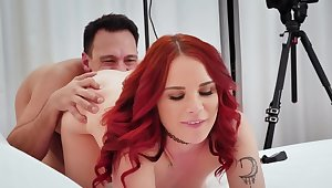 Agent checks wonderful redhead's talents fucking her on the bed